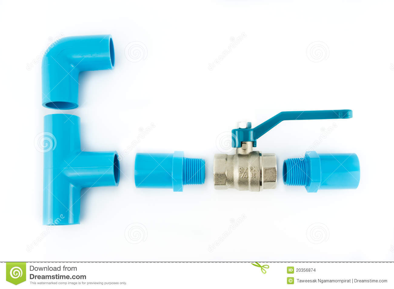 Blue pvc pipe connection with valve stock images image