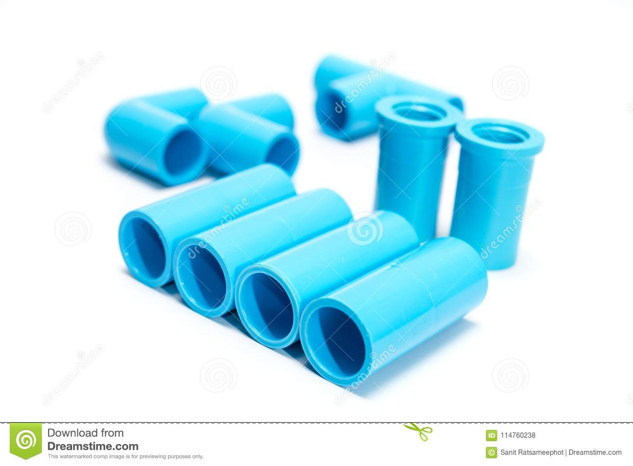Blue PVC pipe fittings  stock photo  Image of piece - 114760238