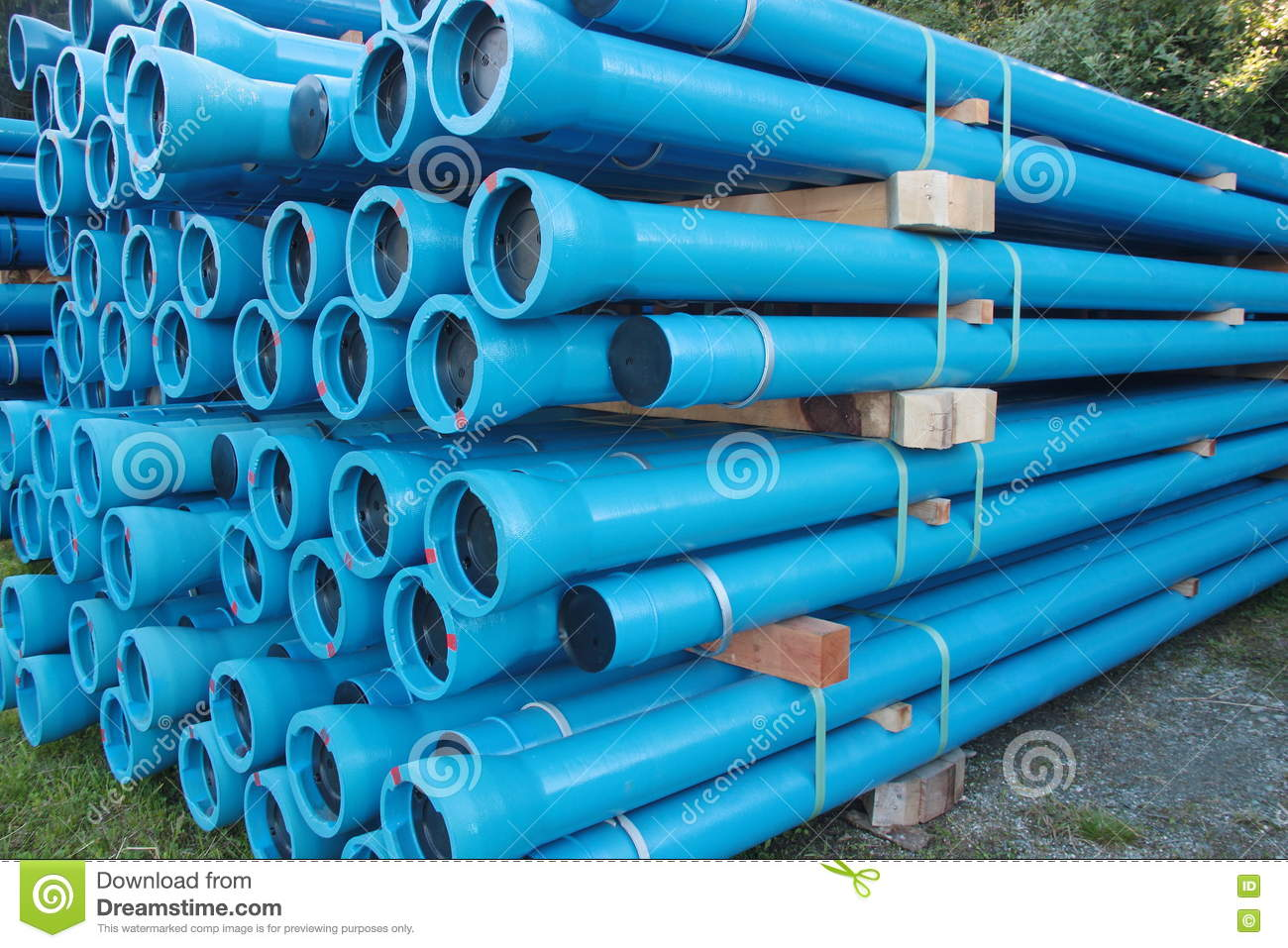 Blue PVC Plastic Pipes And Fittings Used For Underground