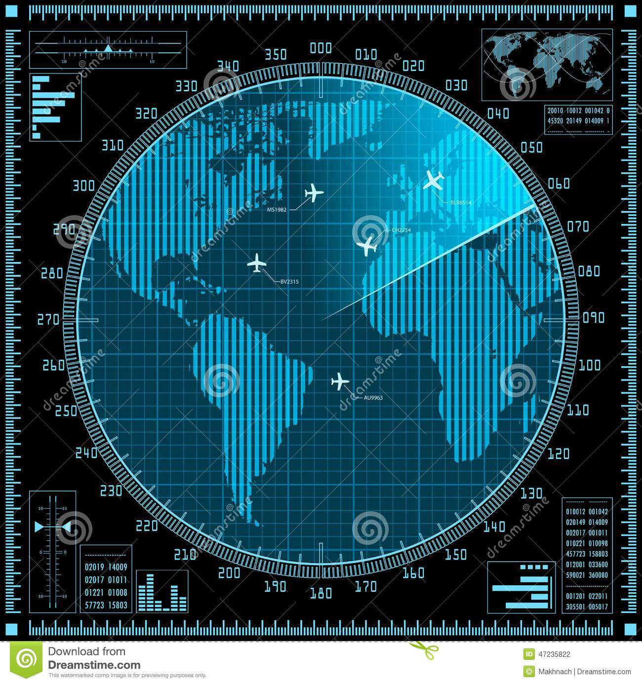 Blue Radar Screen With Planes And World Map Stock Vector Image 47235822