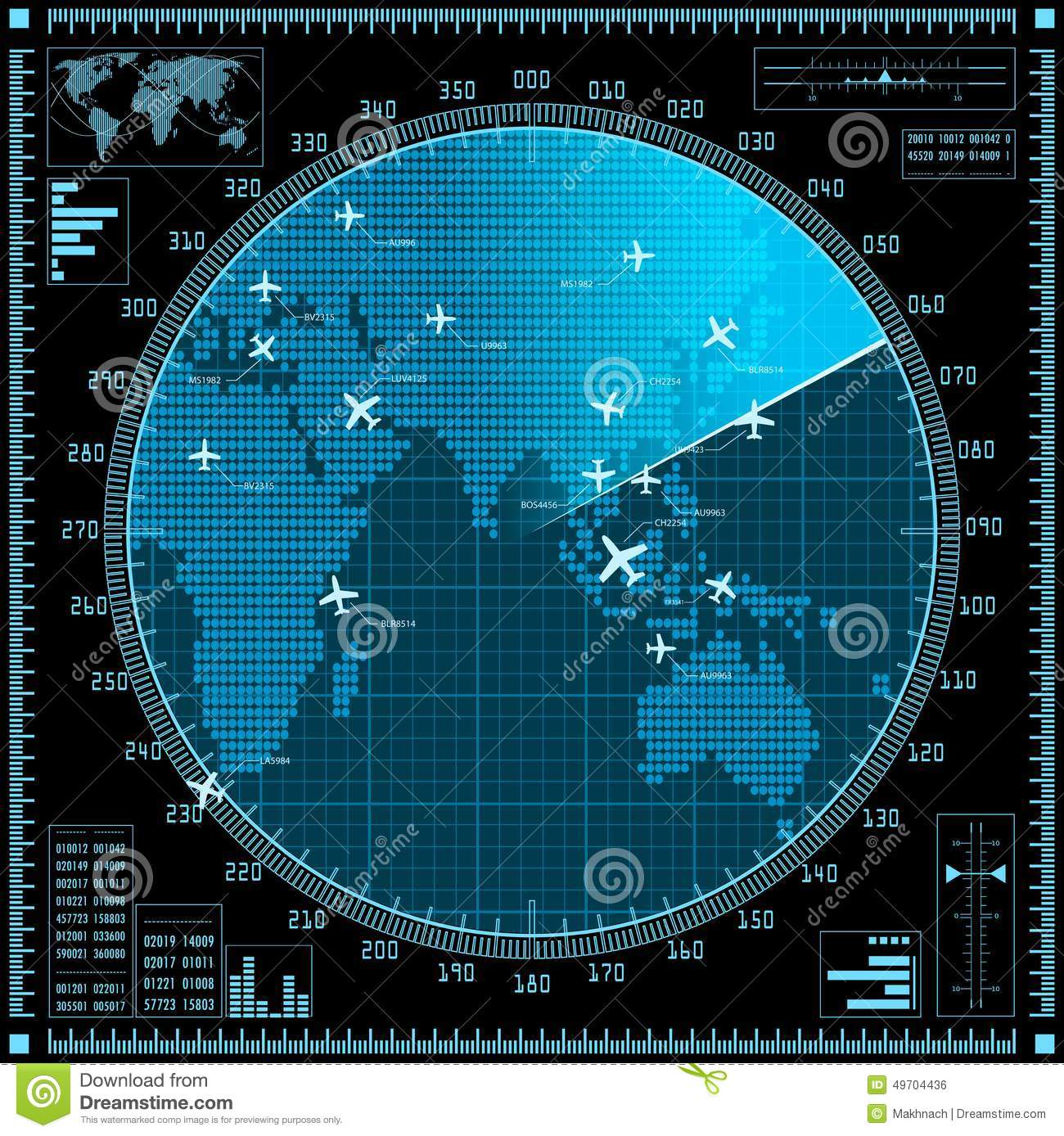 Blue Radar Screen With Planes And World Map Stock Vector Image 49704436