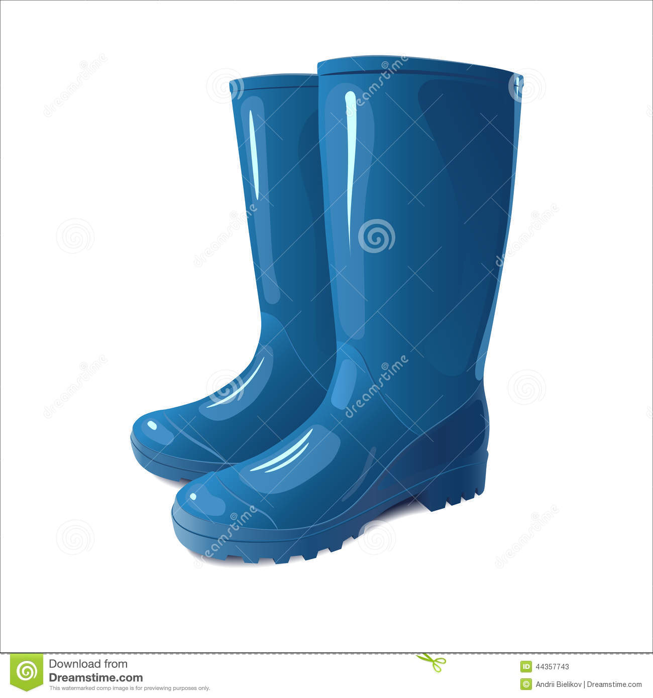 Blue Rain Boots Stock Vector - Image: 44357743