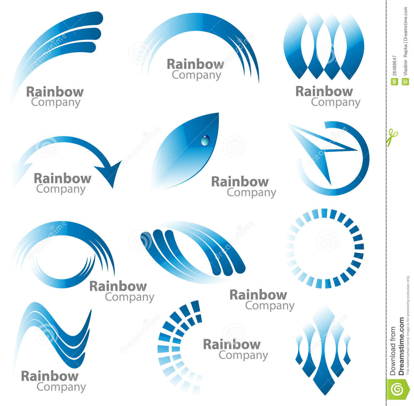 Creative design of a multiple logos in the blue rainbow color palette.
