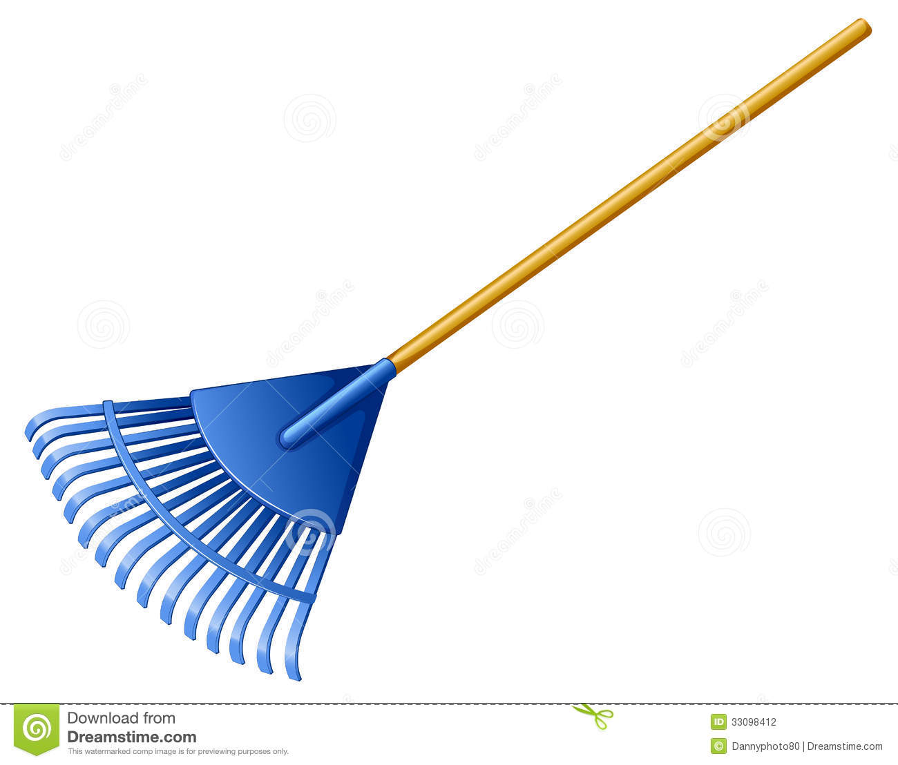 Illustration of a blue rake on a white background.
