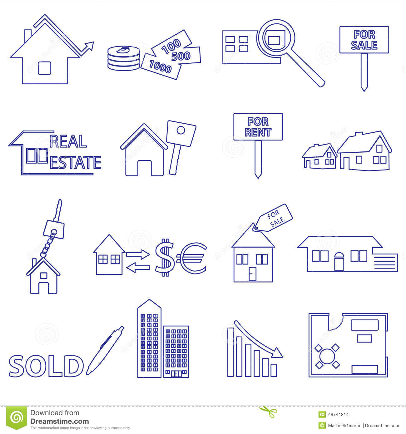 Blue Real Estate Outline Icons And Symbols Set Stock Vector