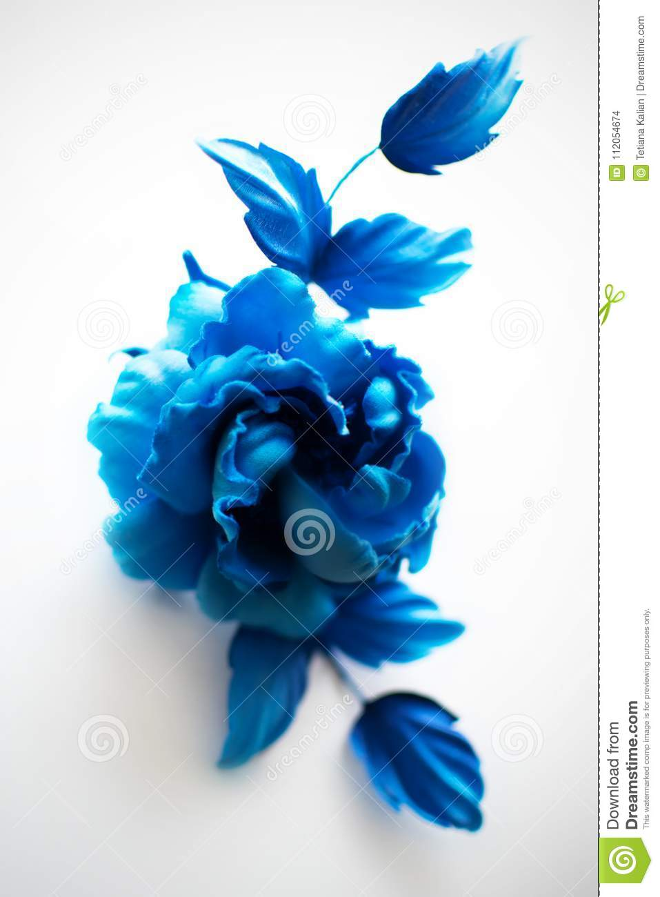 Blue Realistic Fabric Silk Flower Rose Hand Made On White Background