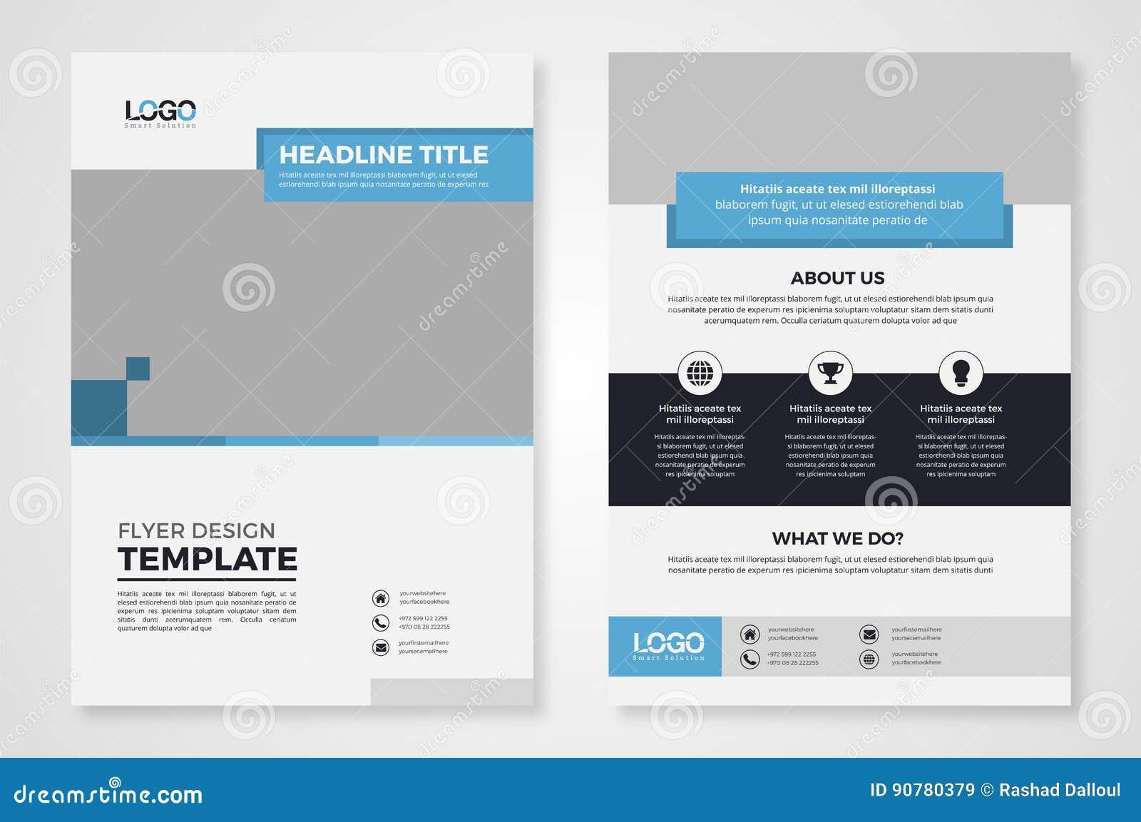 blue rectangular business flyer  brochure template cartoon