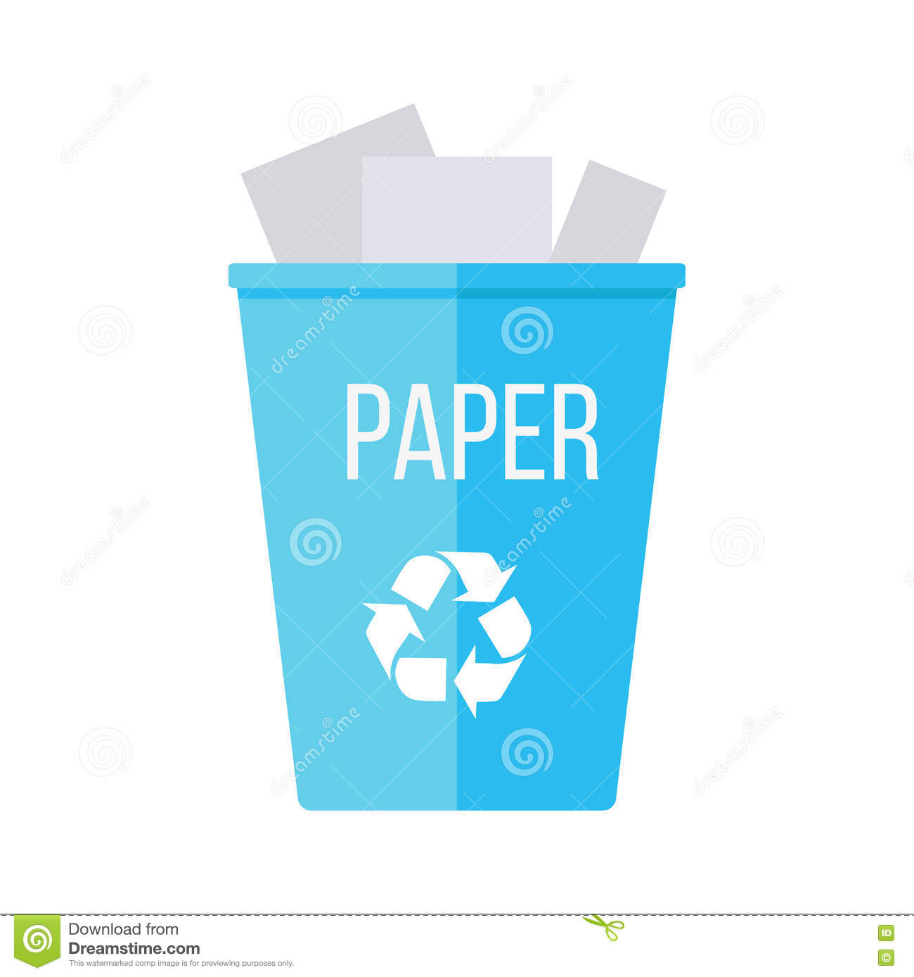 Blue recycle garbage bin with paper stock vector illustration of blue recycle garbage bin with paper buycottarizona