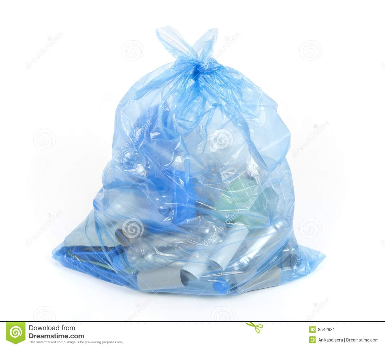 Blue bag with plastic and cardboard for recycling.