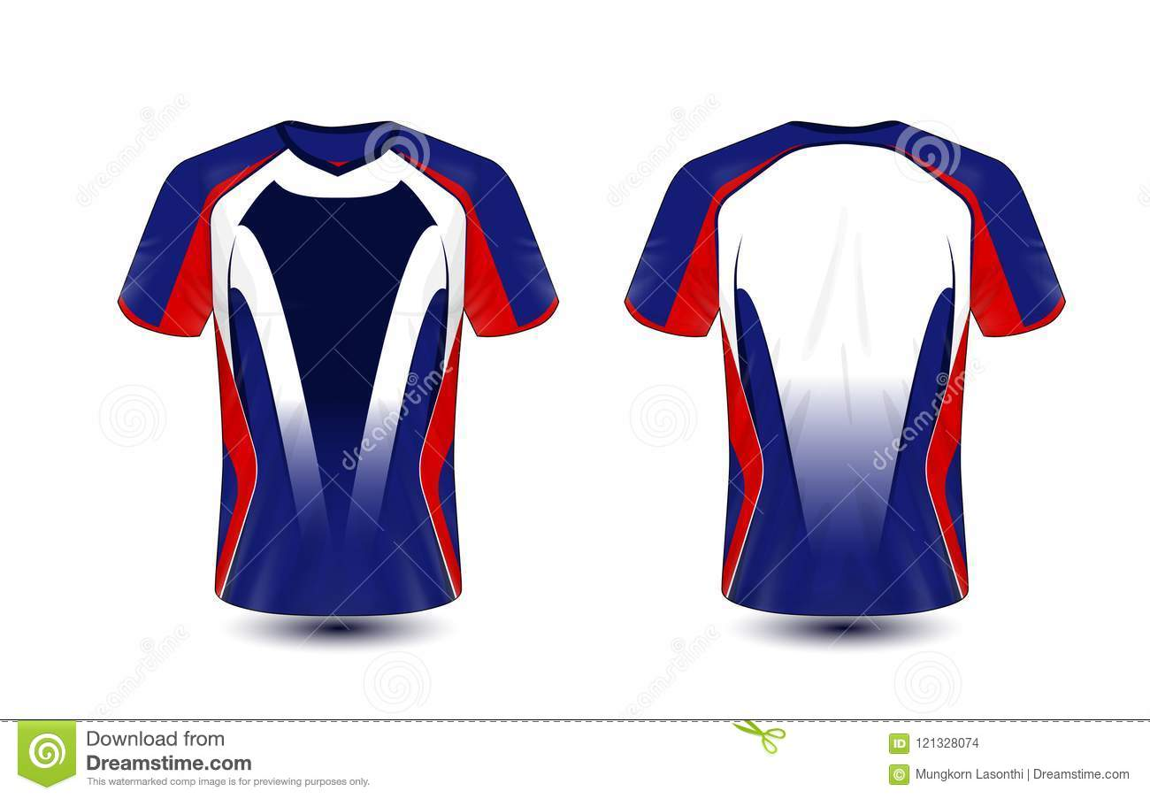 Blue Red And Black Layout E Sport T Shirt Design Template Stock