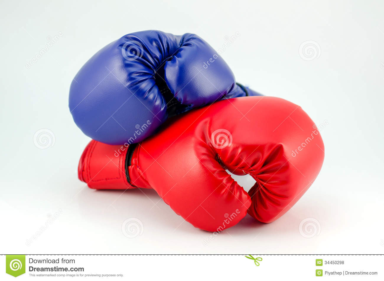 Blue Red Boxing Gloves Isolated On White Stock Photo ...