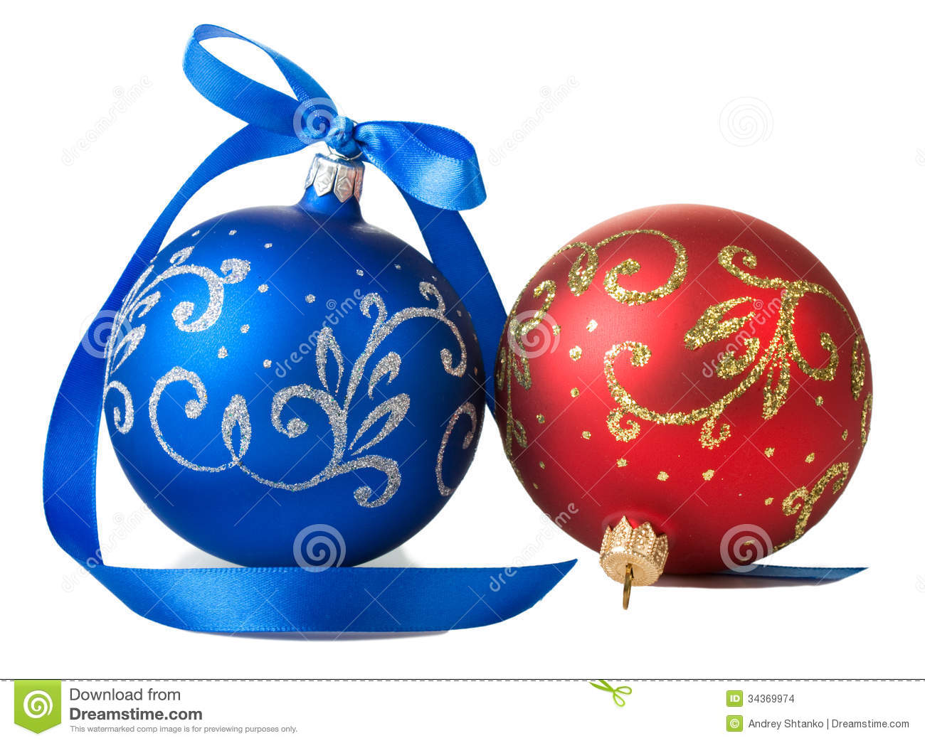 Blue And Red Christmas Balls With Ribbon