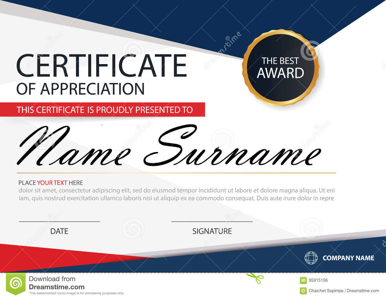 Blue Red Elegance Horizontal Certificate With Vector Illustration