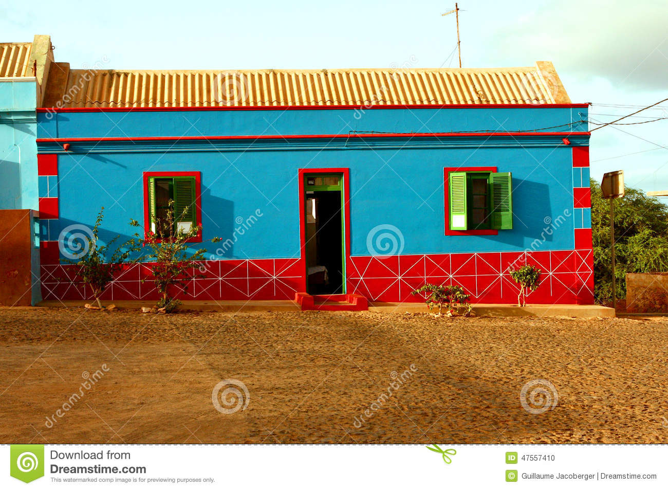Blue And Red House Stock Photo Image 47557410