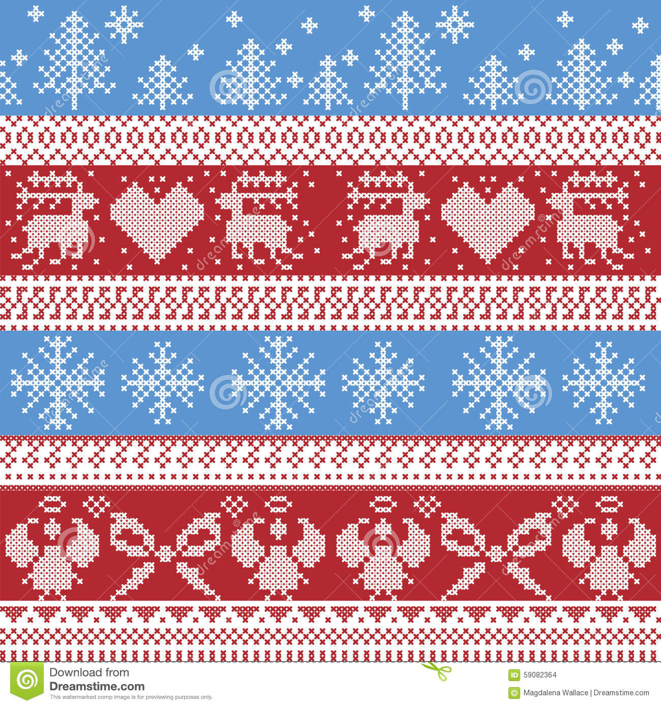 blue and red nordic christmas winter pattern with reindeer