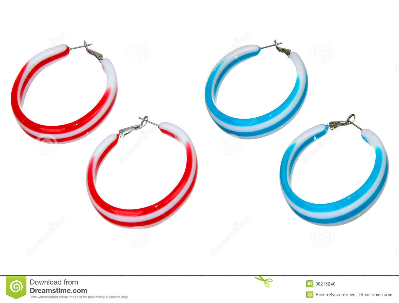Blue And Red Plastic Earrings Stock Photo Image 38215240