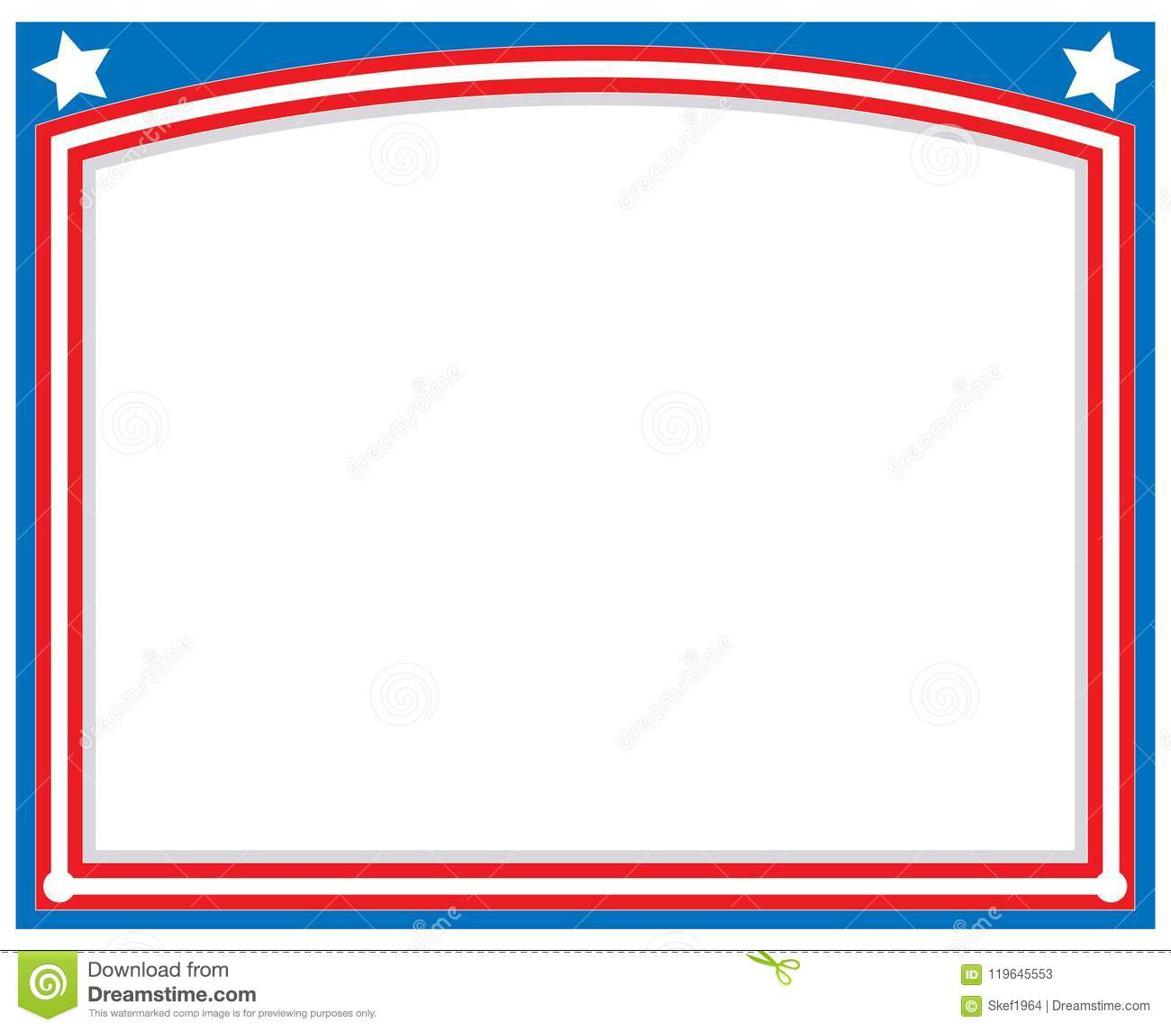 blue red stars usa flag abstract border  stock vector