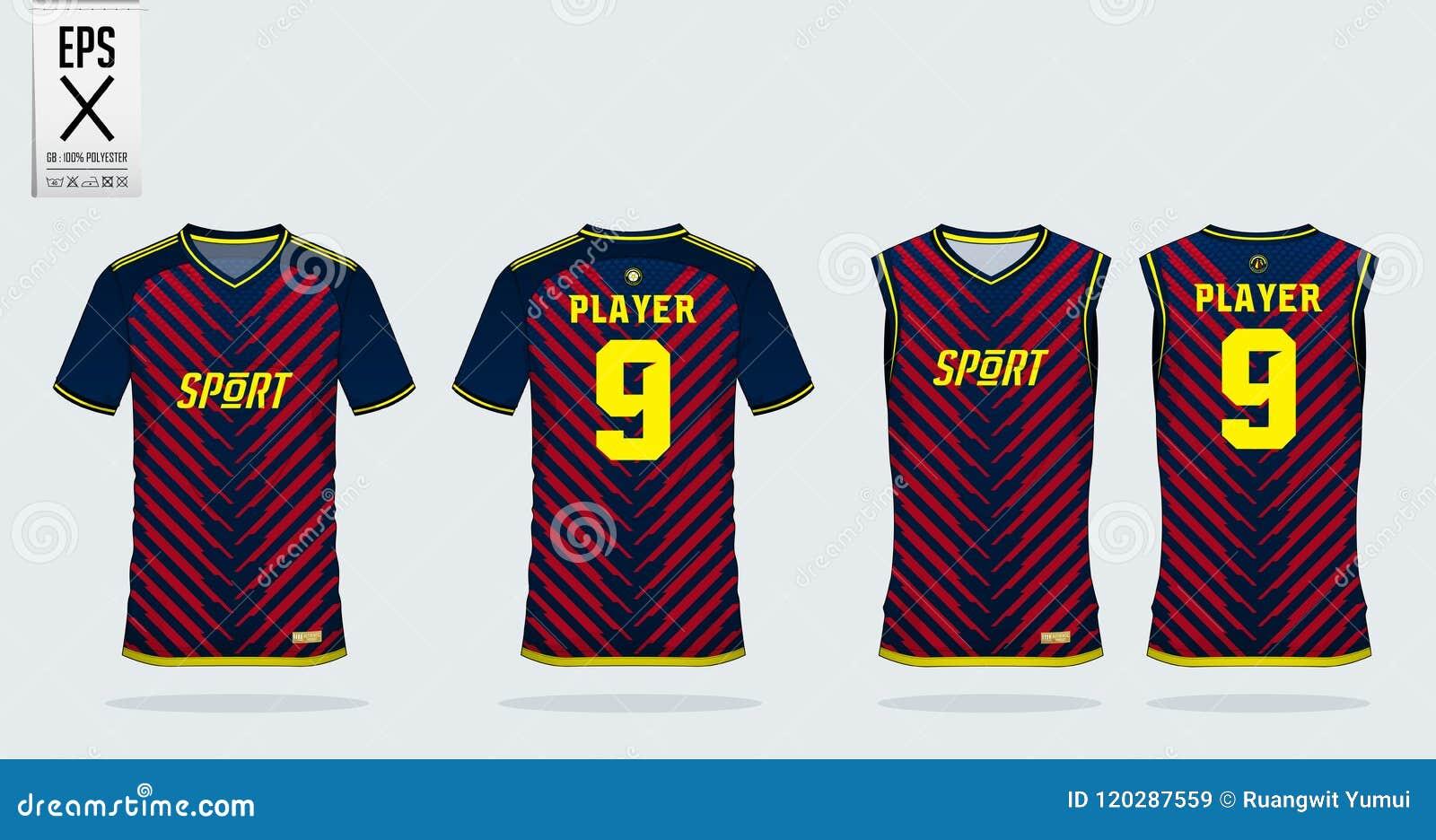 Blue Red Stripe Sport Shirt Design Template For Soccer Jersey
