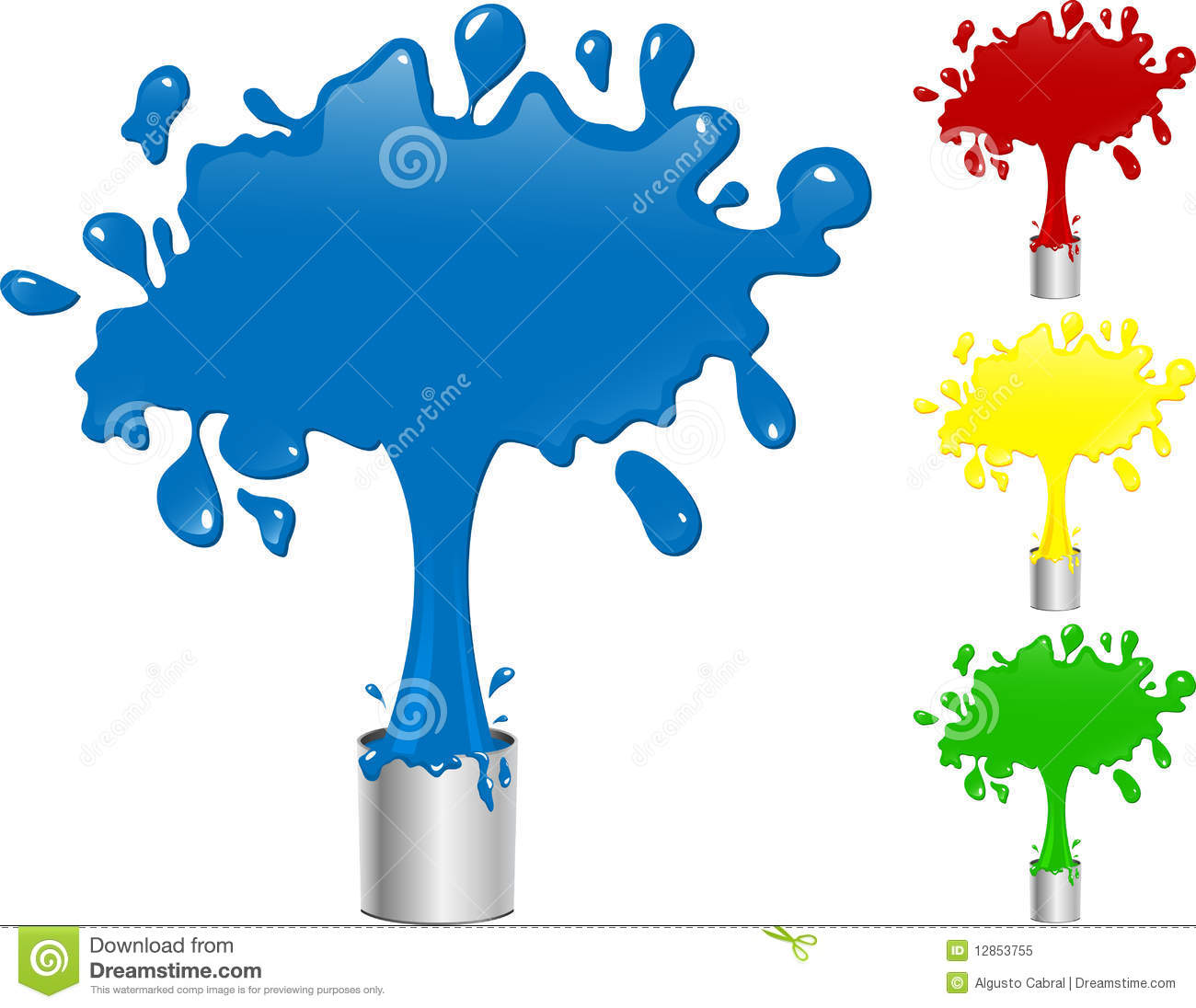 Blue, Red, Yellow and Green Paint
