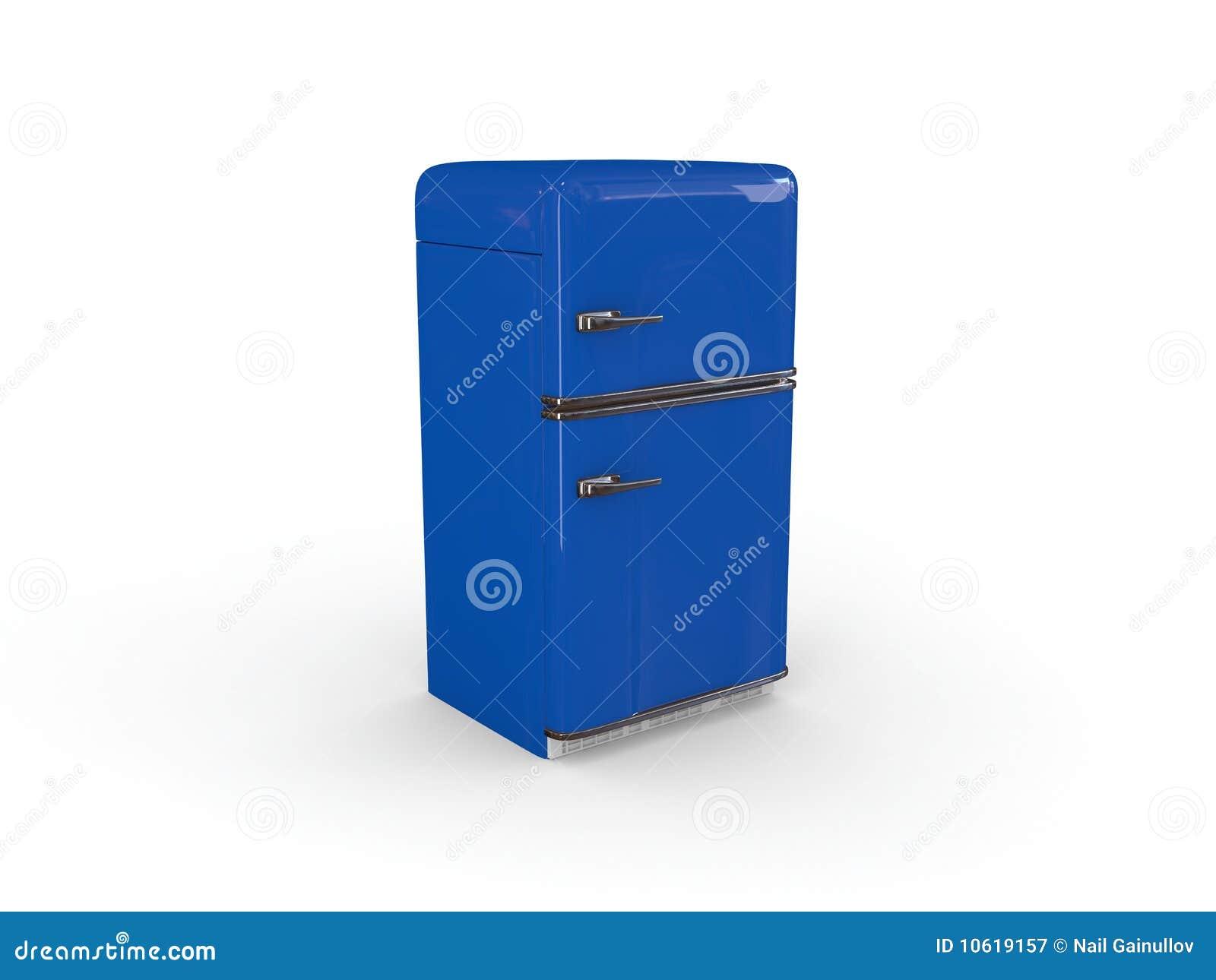 Blue Retro Refrigerator Royalty Free Stock Photography