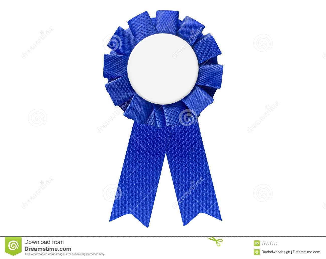 Blue ribbon award tag for sales, sports, retail to display best