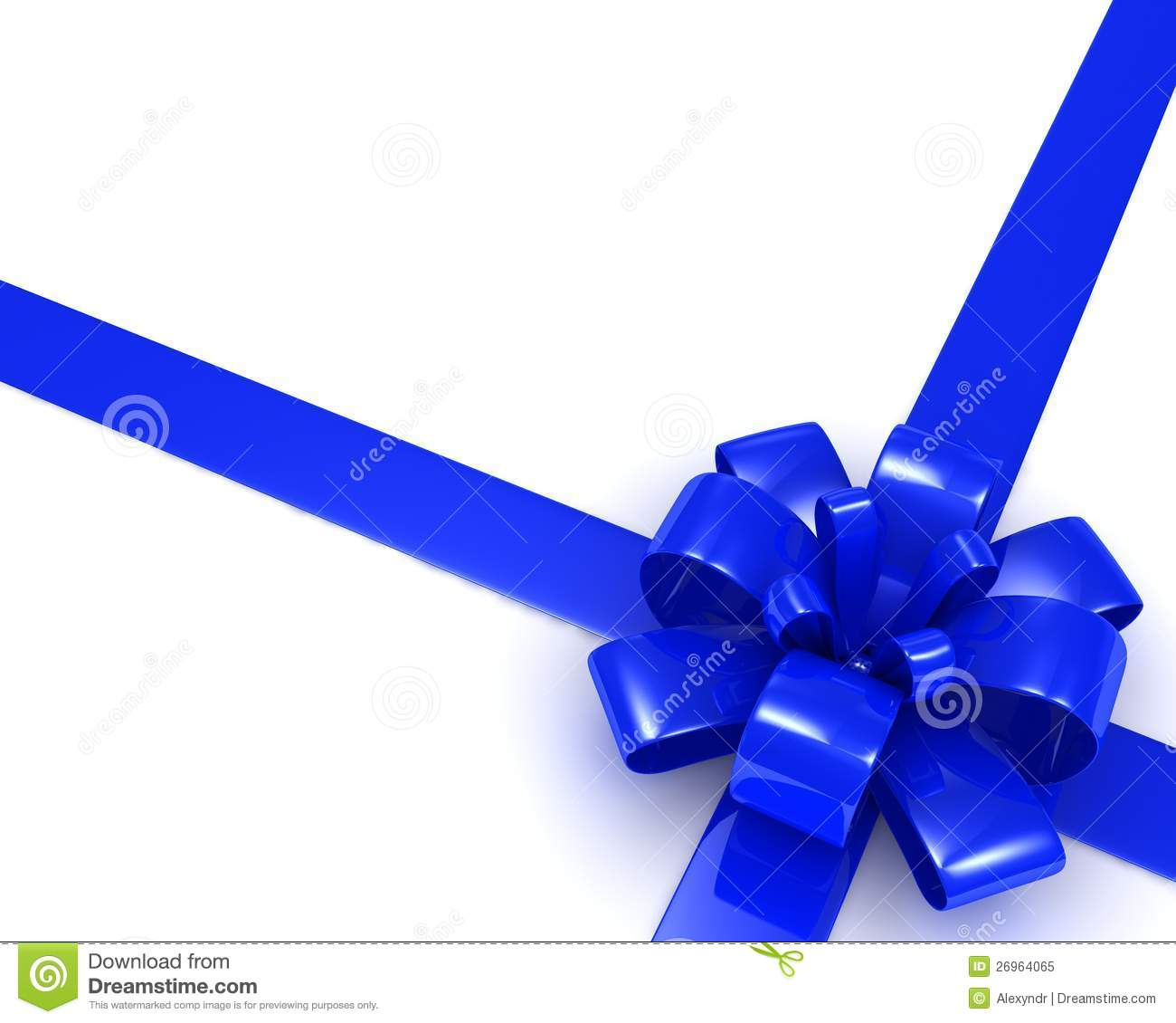 Blue Ribbon Bow On A White Background. 3d Image Royalty