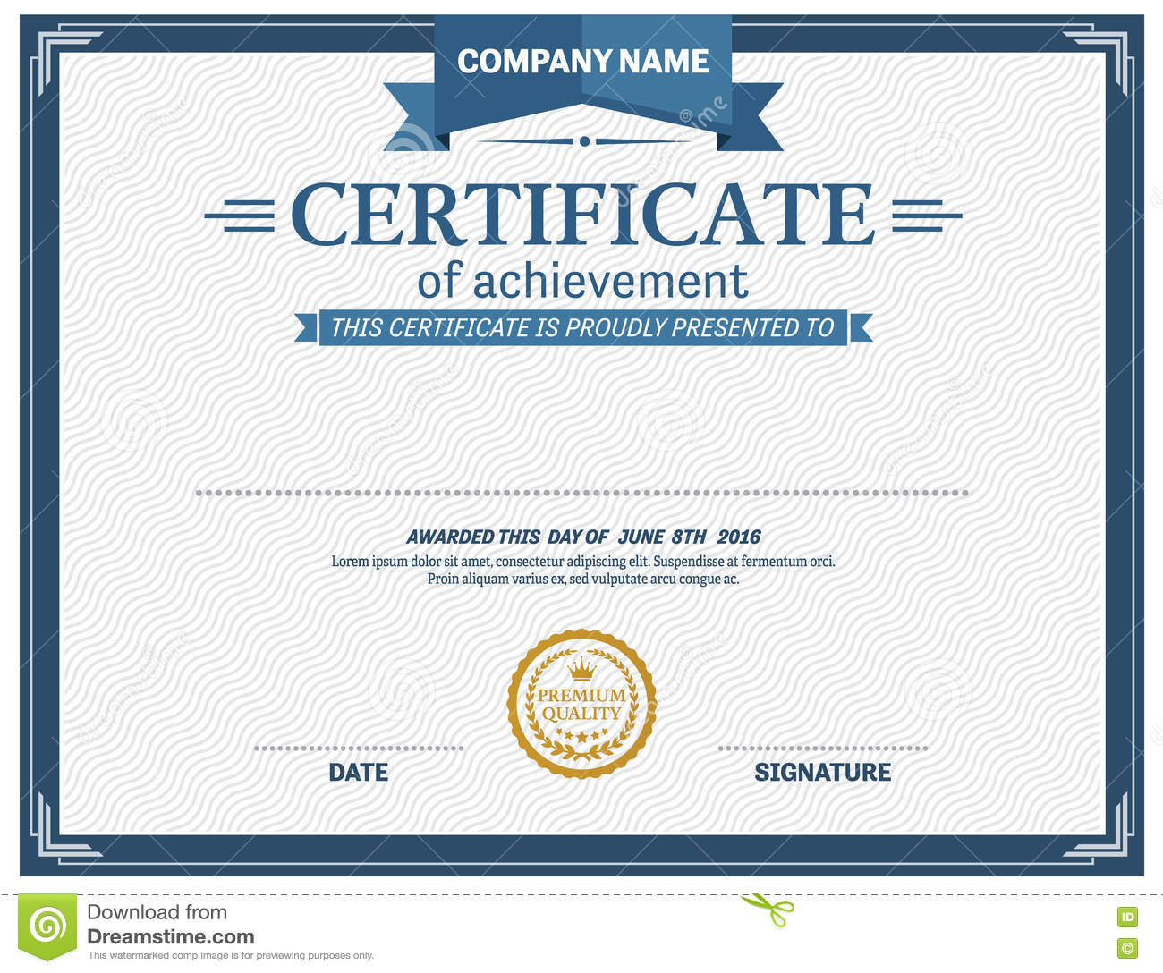blue ribbon certificate diploma template vector illustration stock