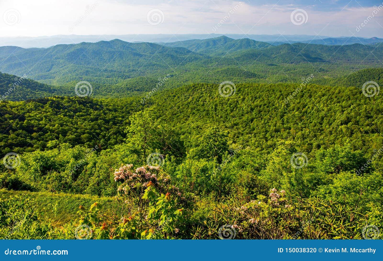 Blue Ridge Mountain Overlook In North Carolina Stock Photo