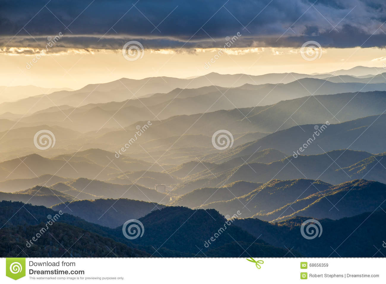Asheville Nc Blue Ridge Mountains Sunset Landscape Stock