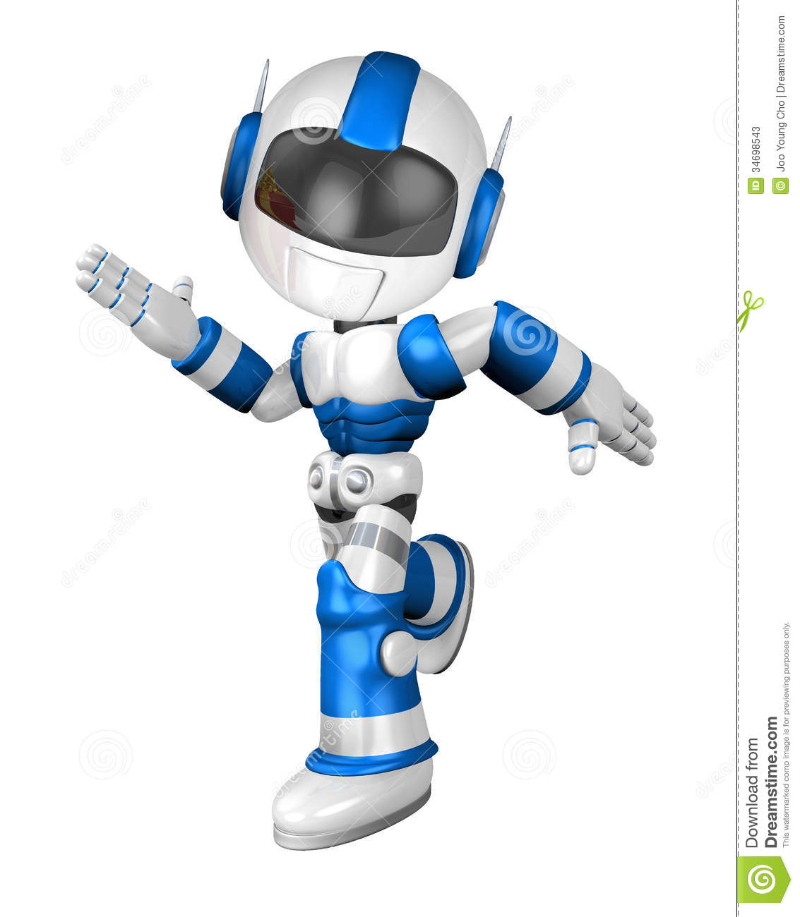 Blue Robot Character Is Going To Front Running Stock