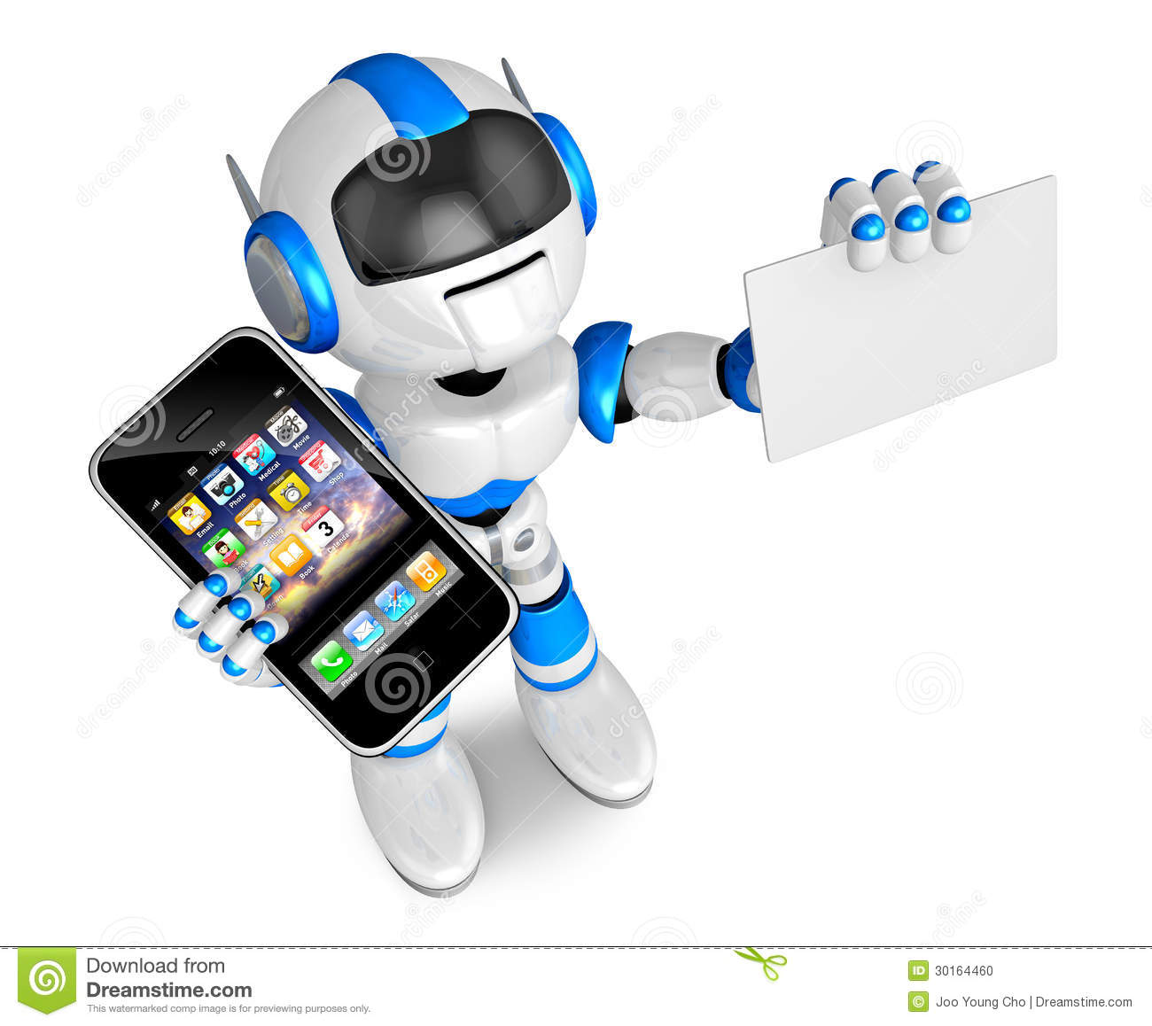 Blue Robot Character Smart Phone The Left Hand Holding