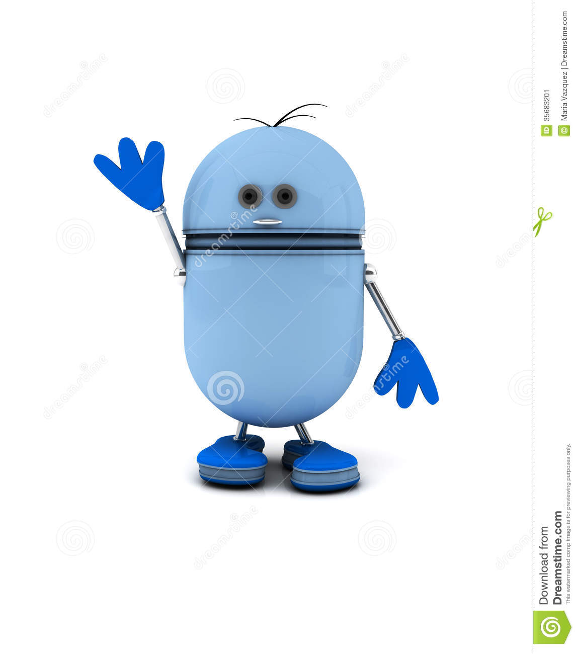 3d Blue Robot saying goodbye on white background.