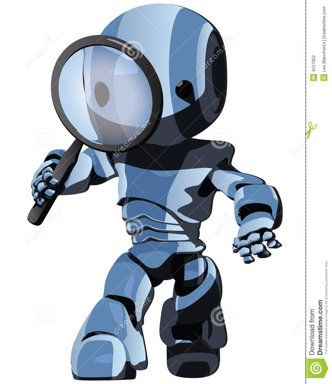 Blue robot searching