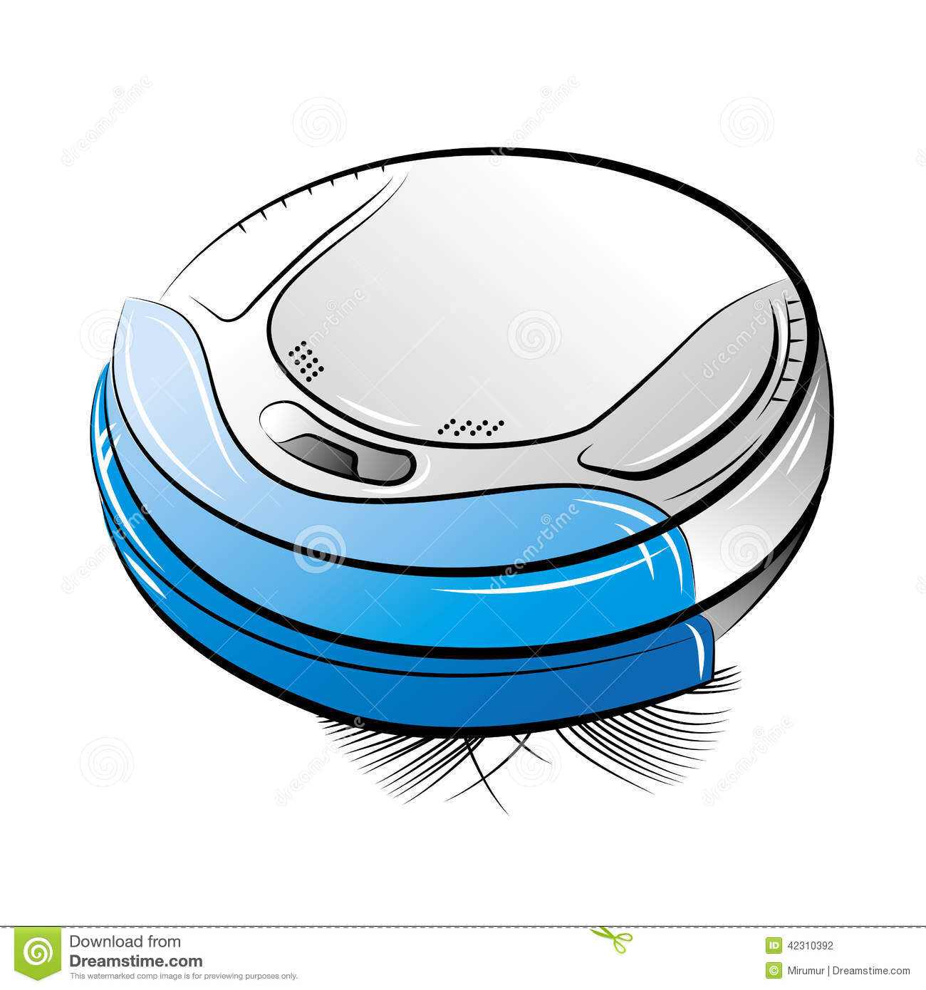 Stock vector blue robotic vacuum cleaner - Blue Robotic Vacuum Cleaner Stock Vector Image 42310392