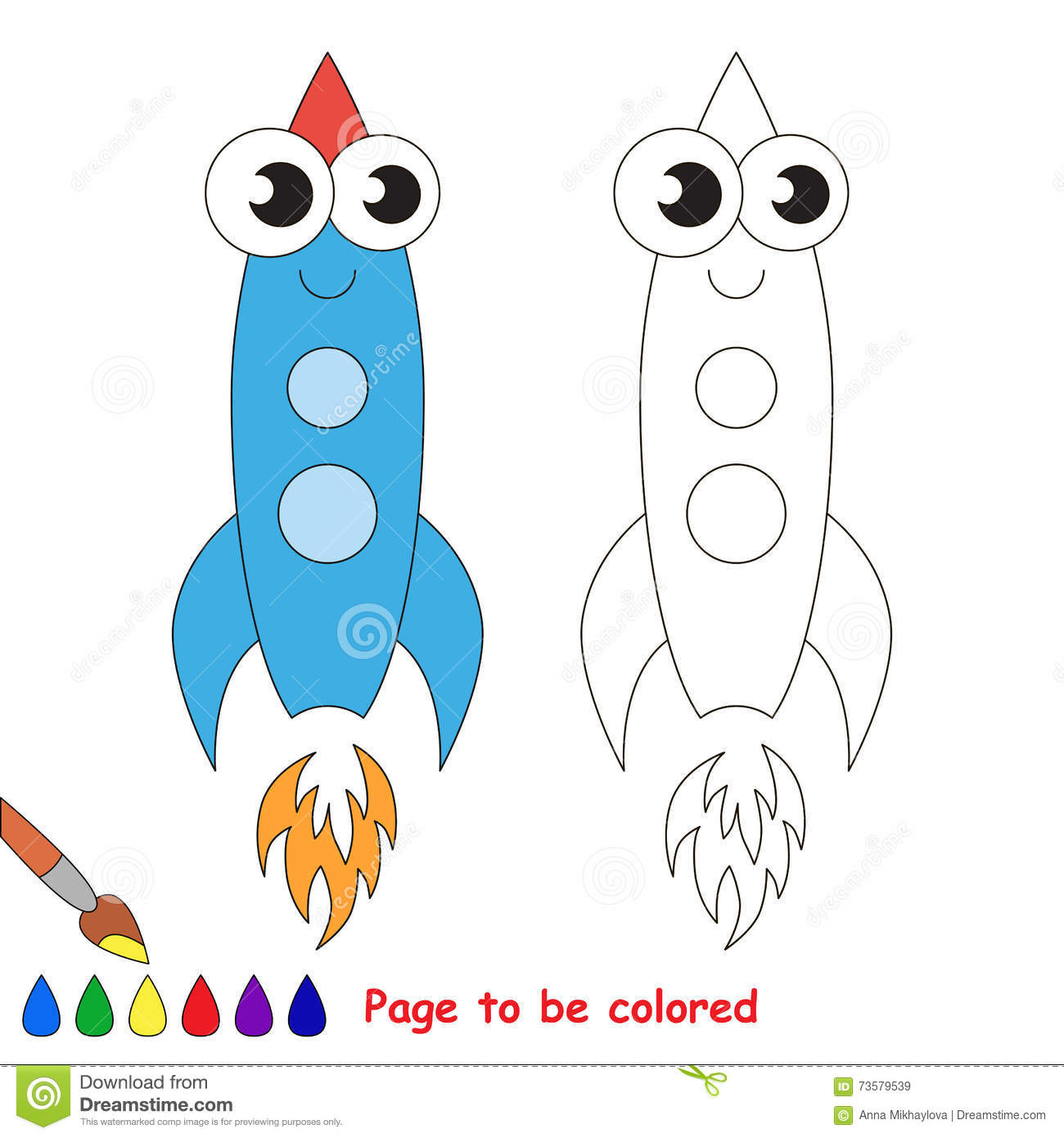 Blue Rocket Cartoon Page To Be Colored Stock Illustration Illustration Of Machine Page 73579539