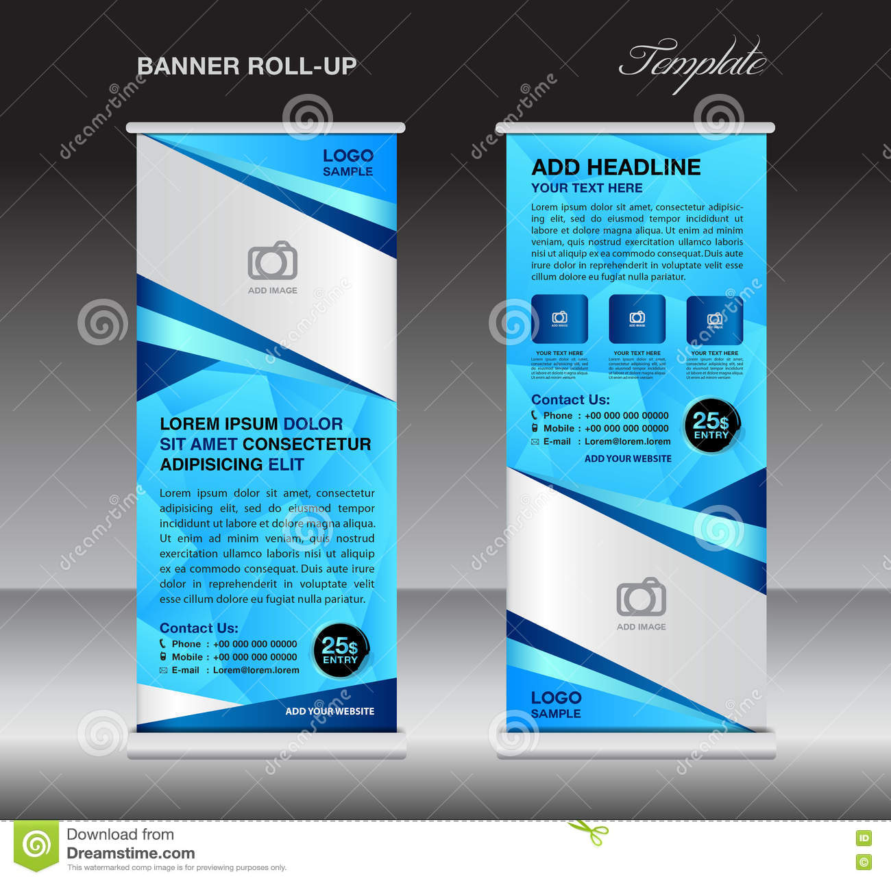 Blue Roll Up Banner Stand Template Stand Design Banner Design Stock Vector Illustration Of Corporate Booth 77274464