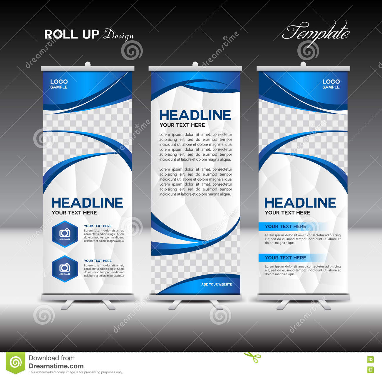 blue roll up banner template banner design advertisement stock blue roll up banner template banner design advertisement