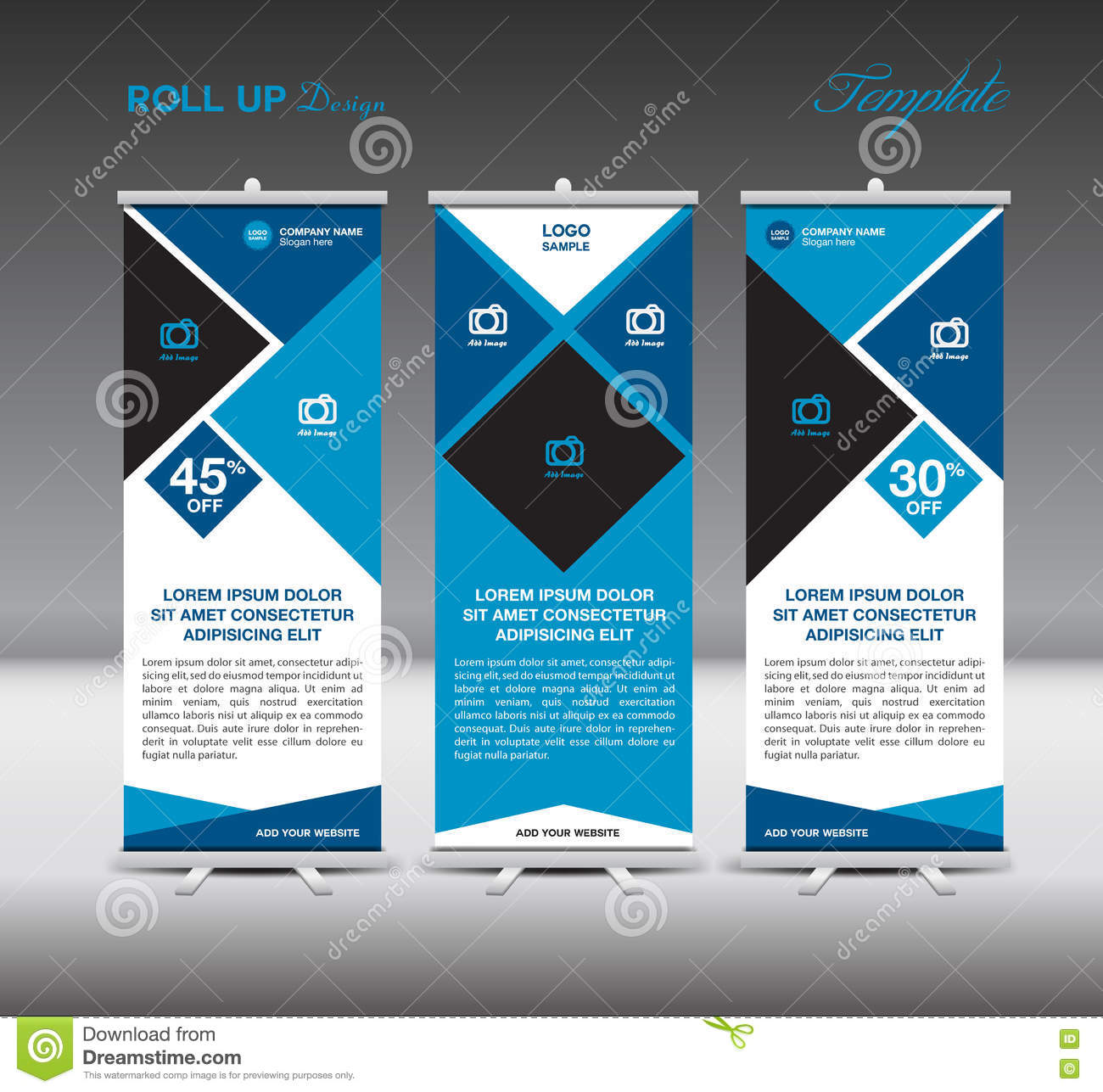 Blue Roll Up Banner Template Display Advertisement Design Vector ...