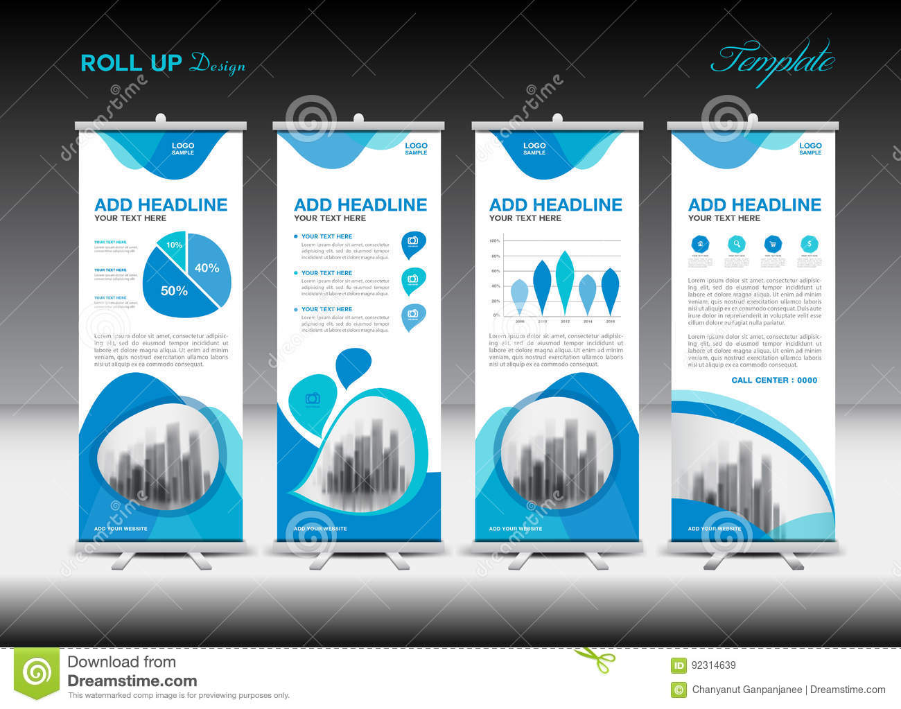 Blue Roll Up Banner template and infographics, stand design