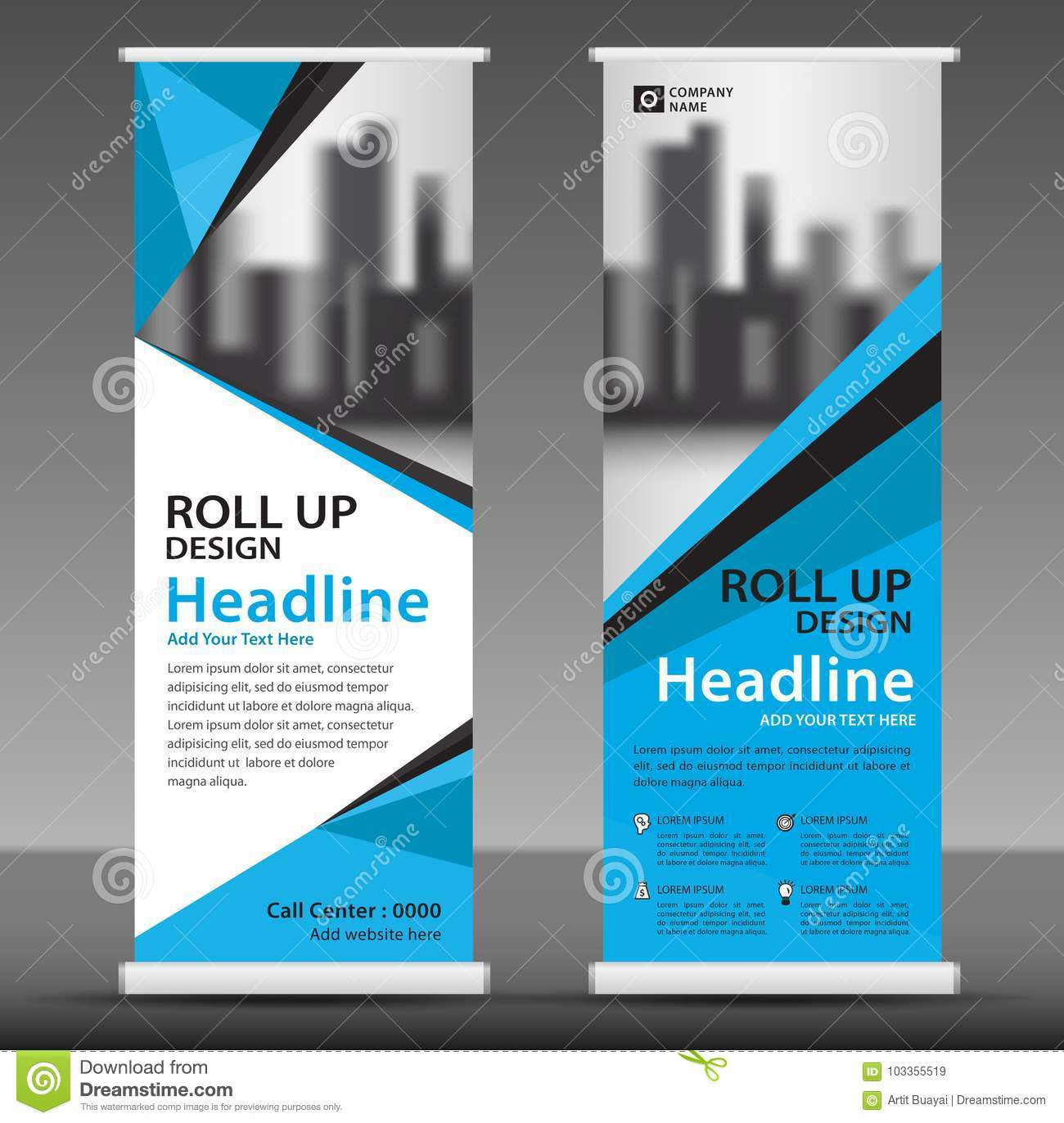 Blue Roll Up Banner Template. Poster. Pull Up. Stock Vector ...