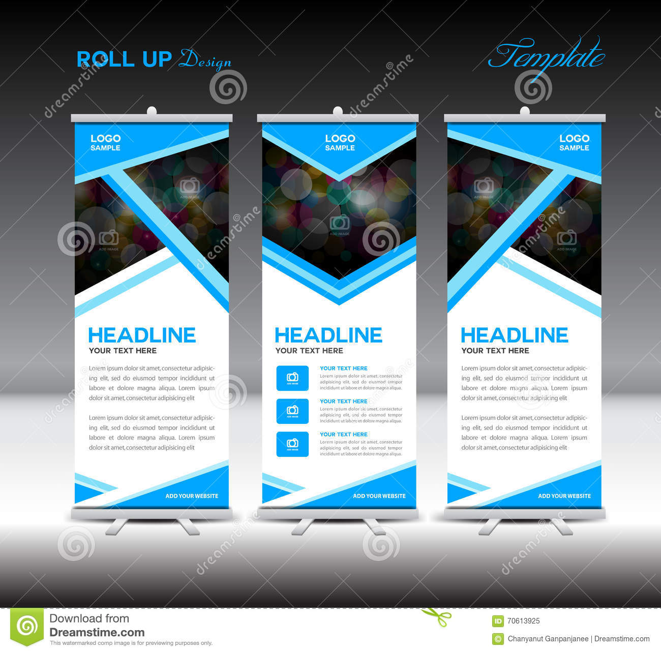 Exhibition Stand Design Vector : Blue roll up banner template stand design