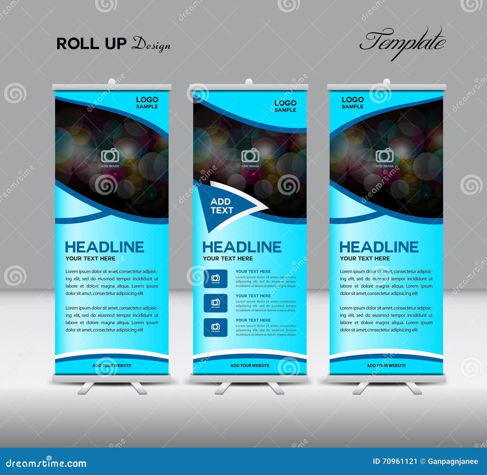 Design banner template - Blue Roll Up Banner Template Stand Template Design Banner Temp Stock Image