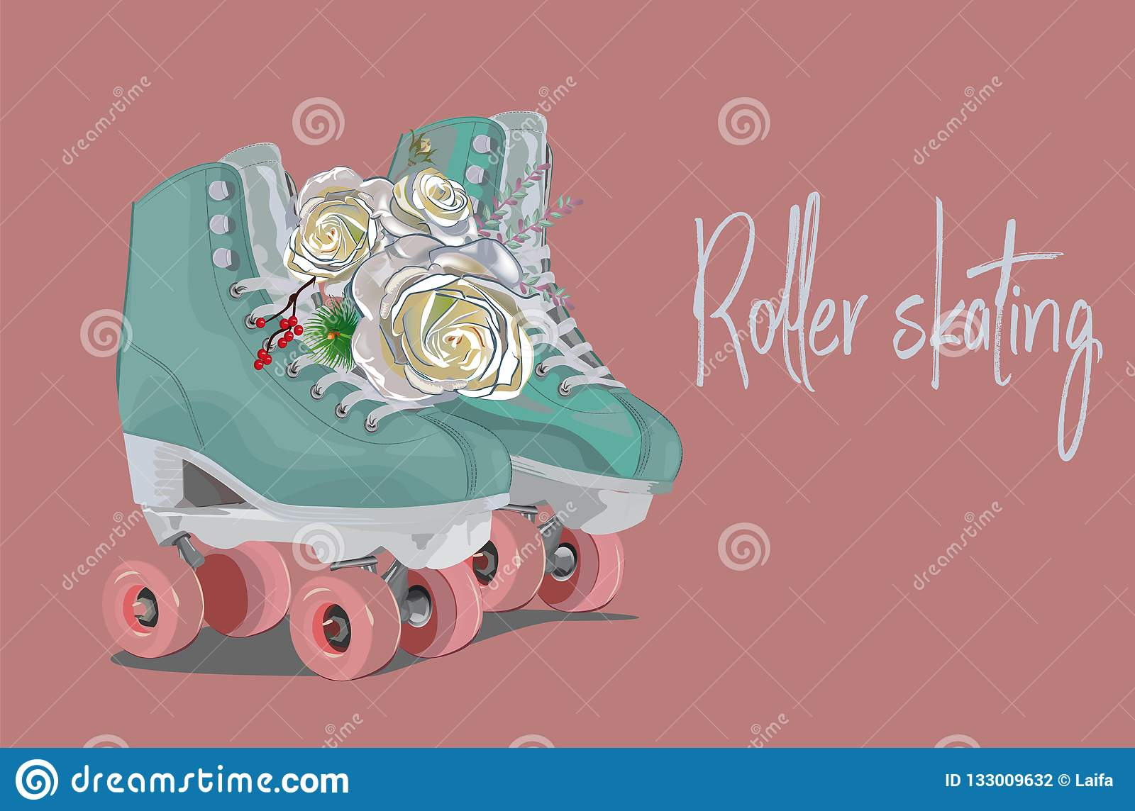 Blue Roller Skates Decorated With Roses On Pink Background Sport