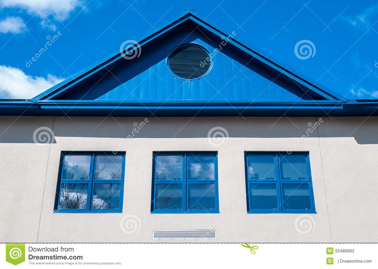 Blue Roof Home Stock Photo Image 53486993