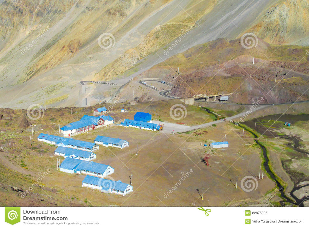Blue Roof Houses In The Mountains Stock Photo Image - Argentina map mountains