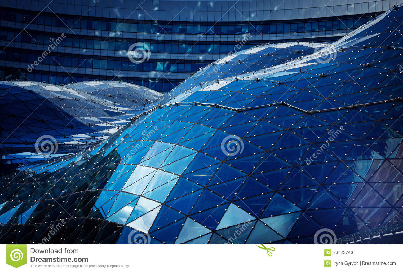 Blue Roof In Modern Building Made Of Glass And Steel Editorial Photo