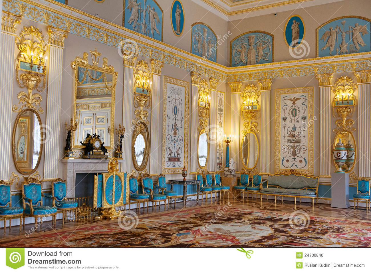 Blue room in the catherine palace stock photo image for Catherines house