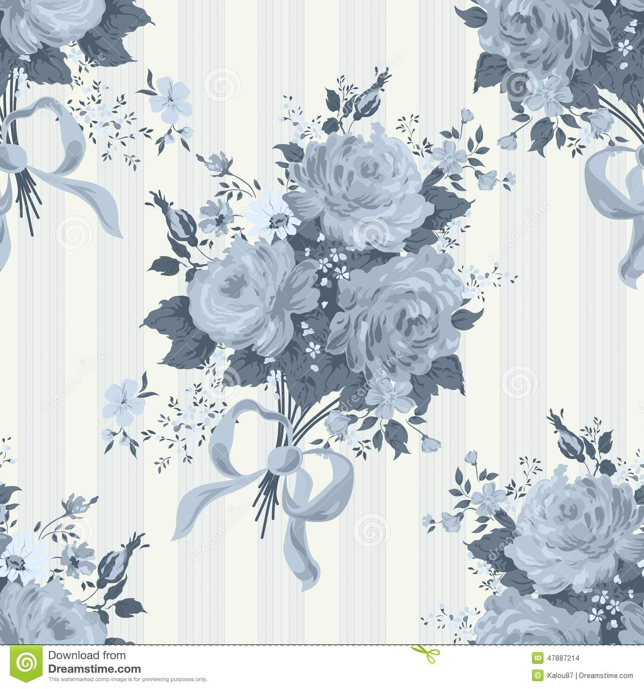 Blue Rose Vintage Background Floral Pattern