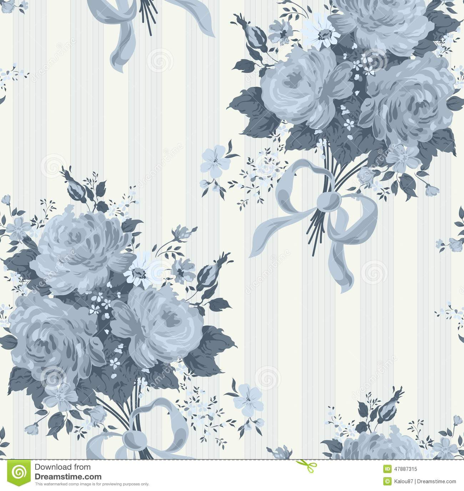 blue rose vintage wallpaper floral pattern stock image