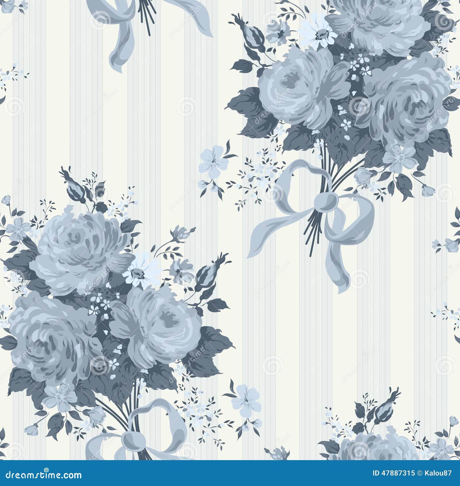 Blue Rose Vintage Wallpaper Floral Pattern Stock Photo Image